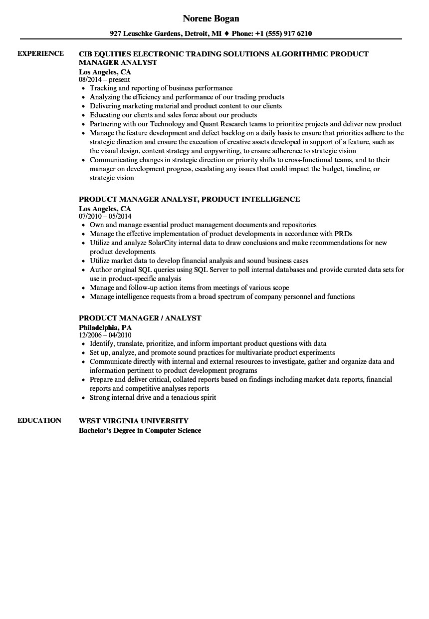 product manager analyst resume sample