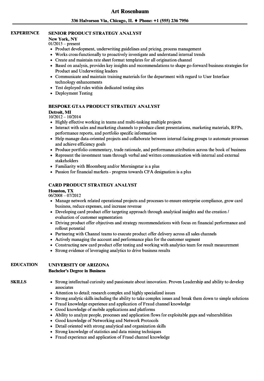 product strategy analyst resume sample