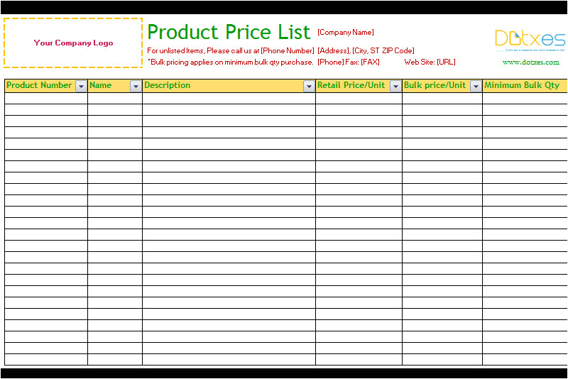 product price list excel standard
