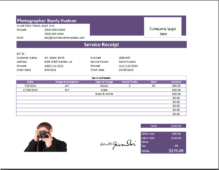 photography receipt template free