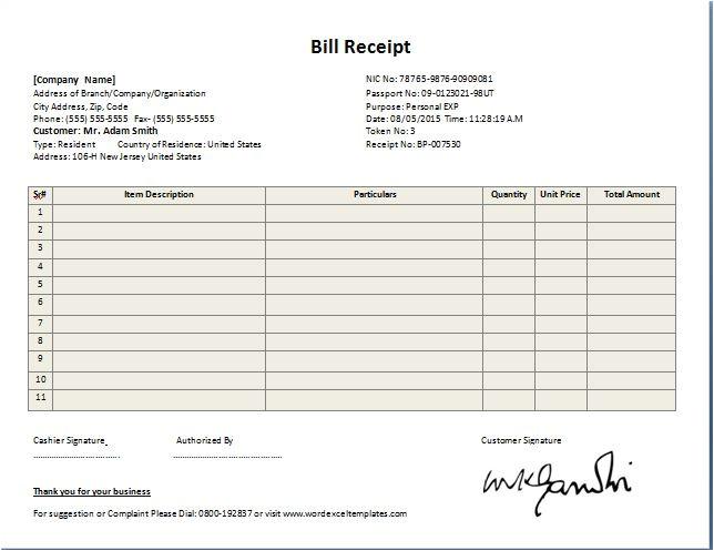 bill receipt template free