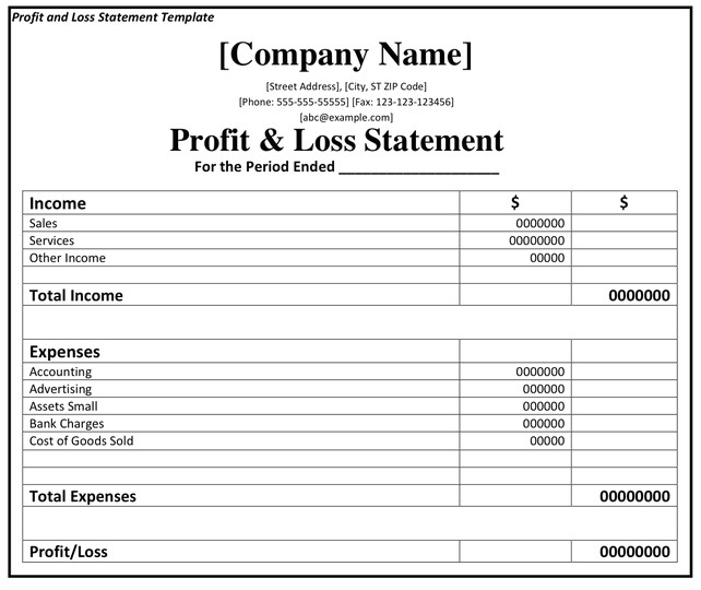 printable profit and loss statement format excel word pdf profit and loss statement template