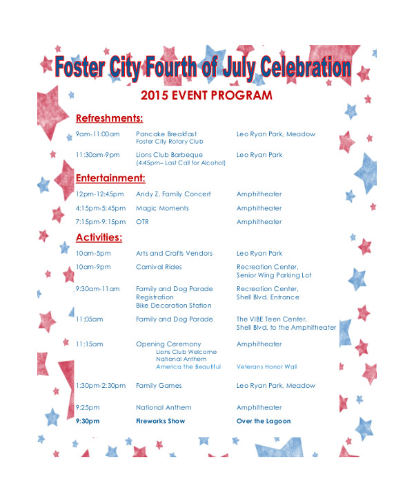 Program Templates for events 38 event Program Templates Pdf Sample Templates