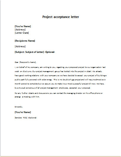 letter for project acceptance