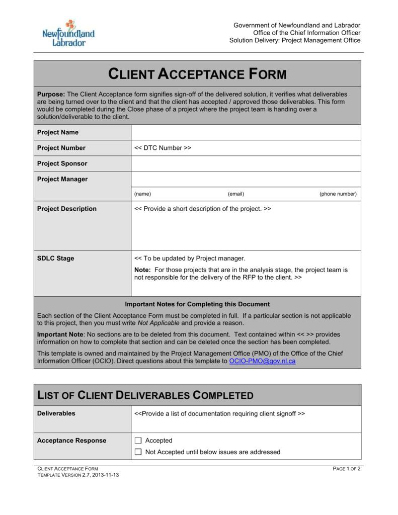 project acceptance form