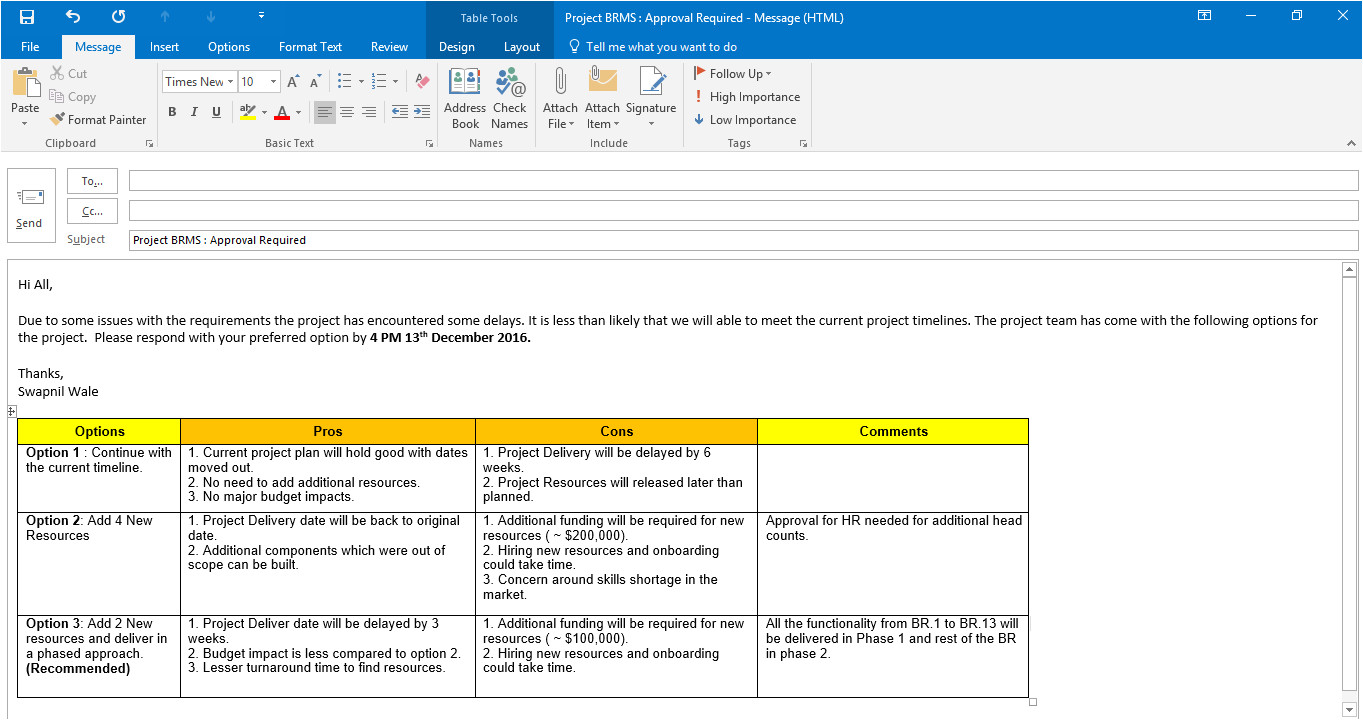 email templates for project managers