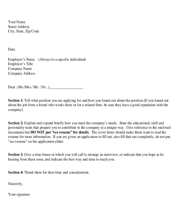 Proper formatting for A Cover Letter 7 Sample Resume Cover Letter formats Sample Templates
