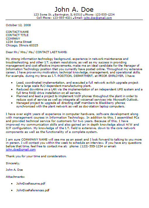 information technology cover letter format