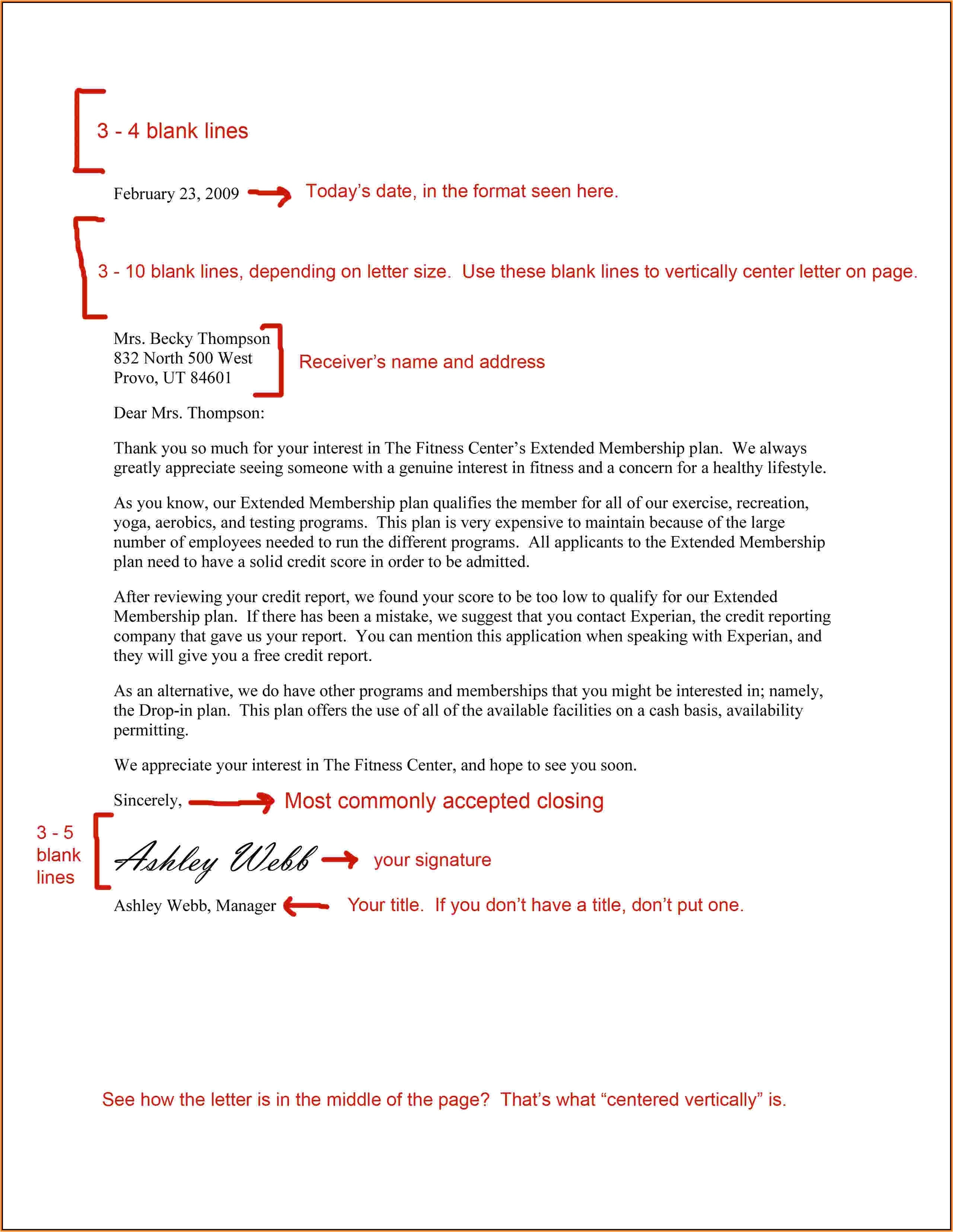business letter format spacing template