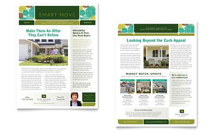 real estate newsletter template design re0090301