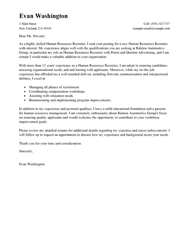 recruiter cover letter examples