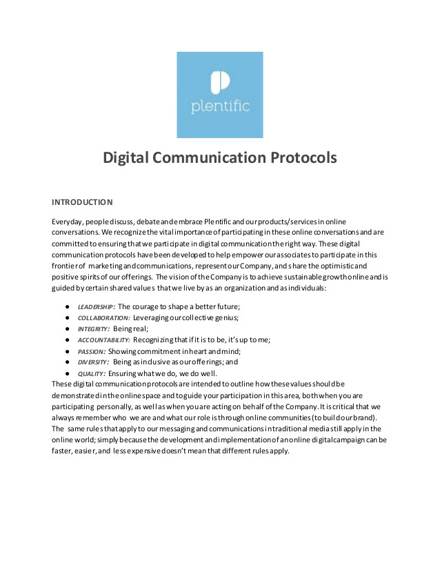 digital communicationsprotocol template