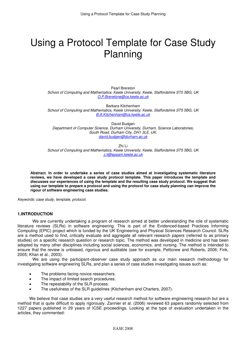 228573079 using a protocol template for case study planning
