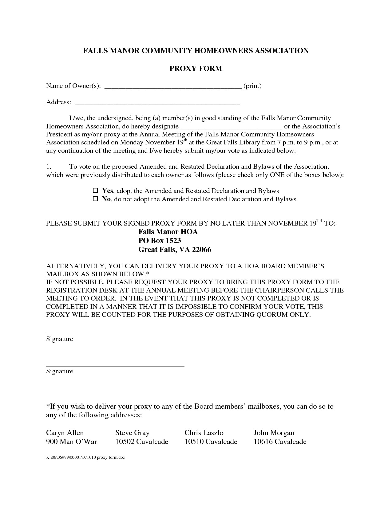 26 images of homeowners association proxy form template download 7585