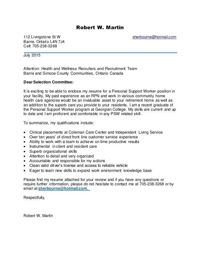 psw cover letter examples
