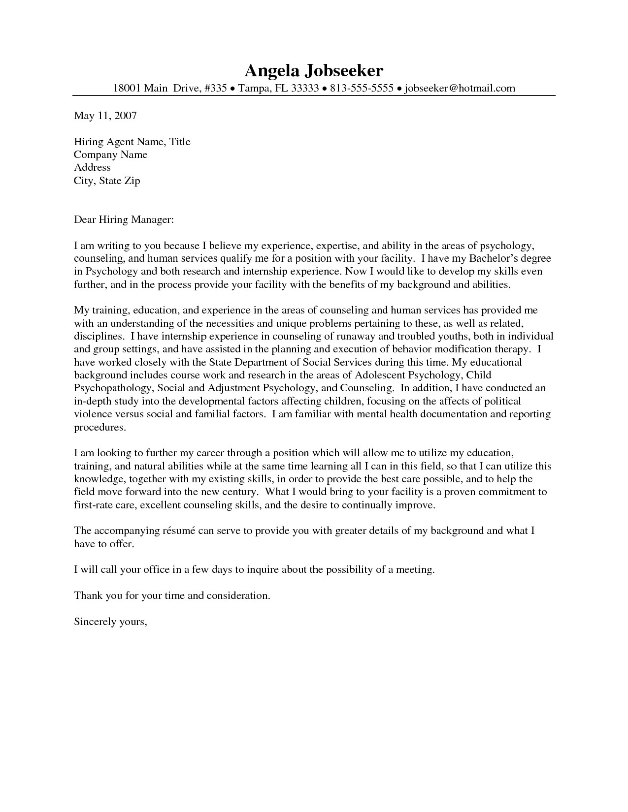 psychology internship cover letter template