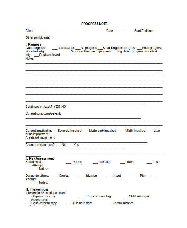 therapy note template