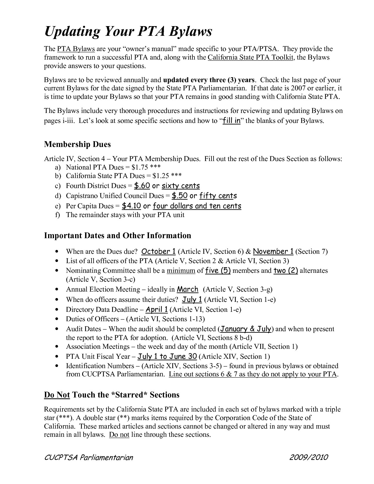 post pta bylaws template 434723