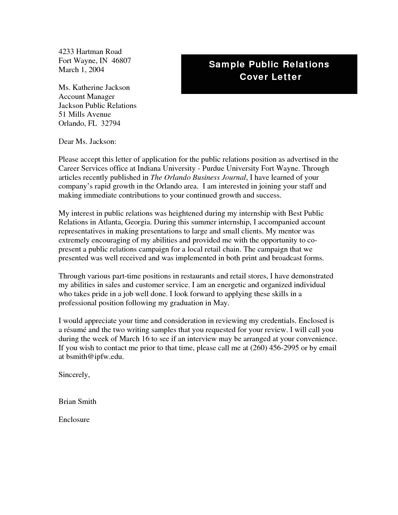 fashion public relations cover letter examples
