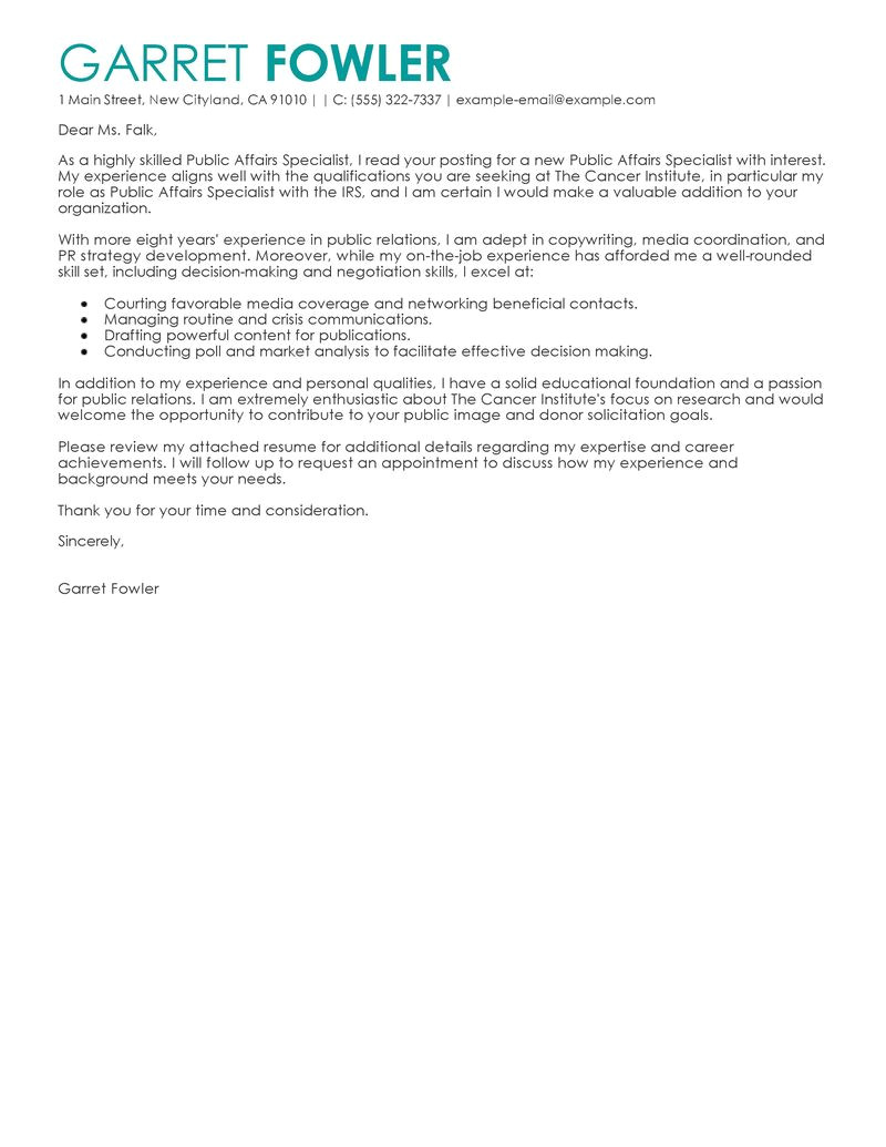 Public Interest Cover Letter Leading Professional Public Affairs Specialist Cover