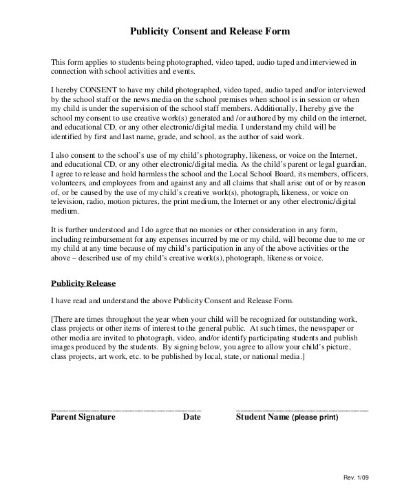 Publicity Release form Template 8 Sample Publicity Release forms Sample Templates