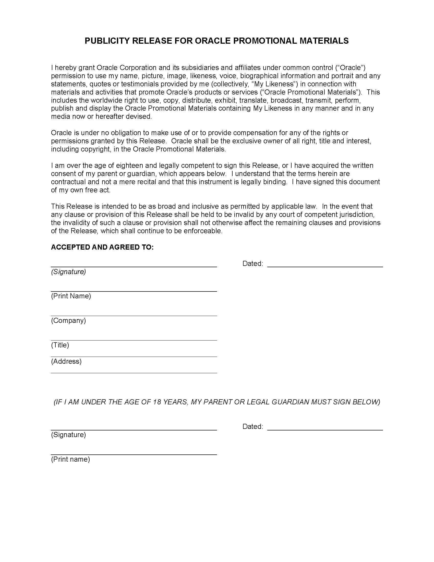 publicity release form