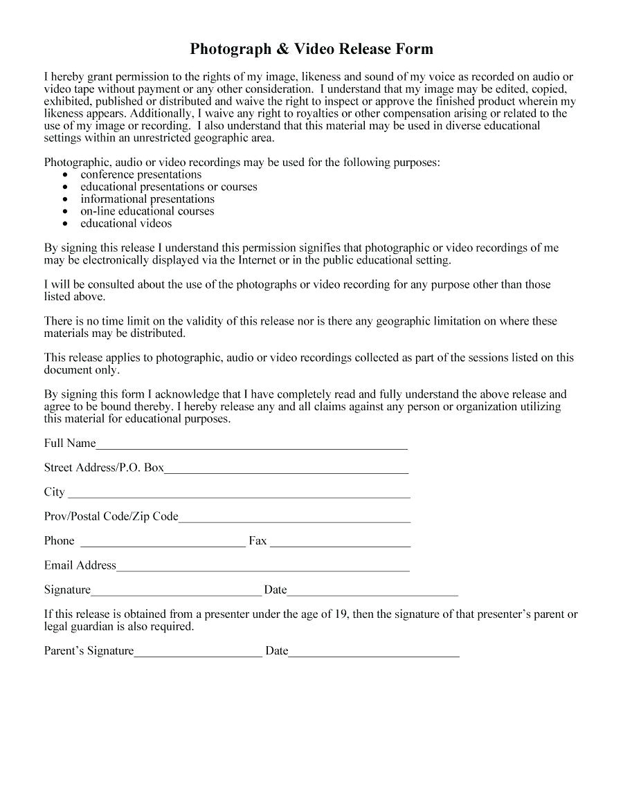 Publicity Release form Template Template Publicity Release form Template