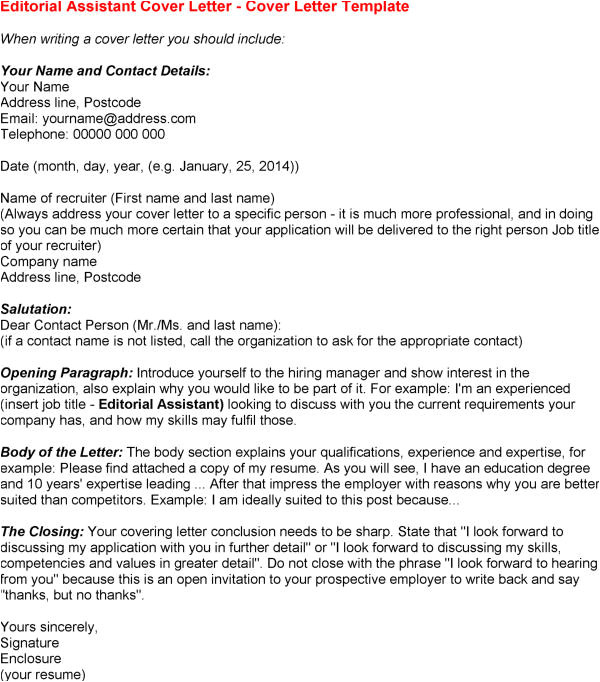editorial assistant cover letter