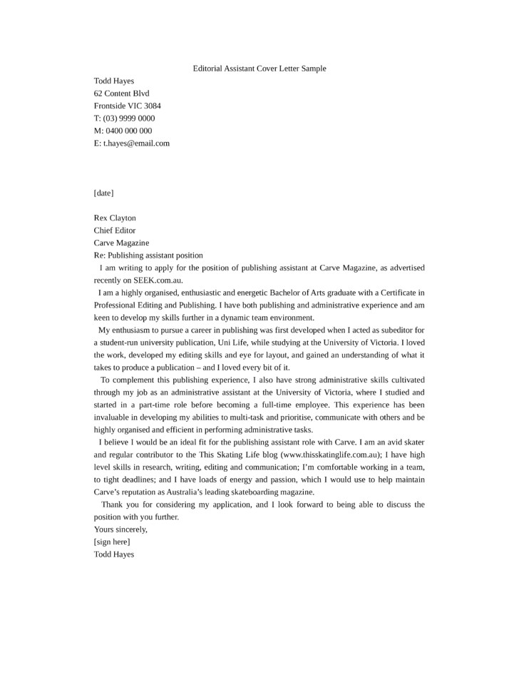 publishing assistant cover letter samples templates