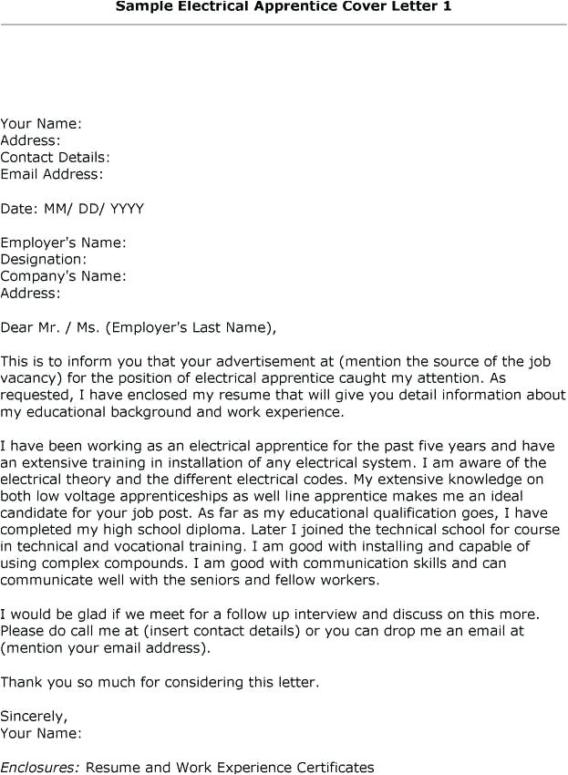 how to write a cover letter for electrician apprenticeship
