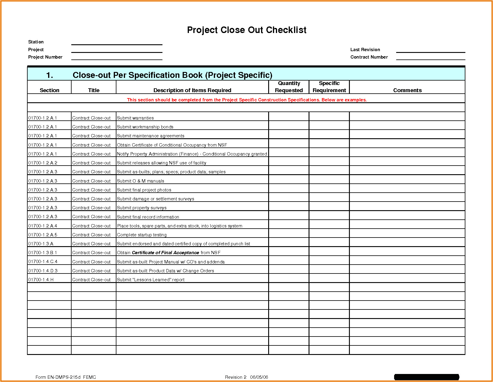construction project punch list template