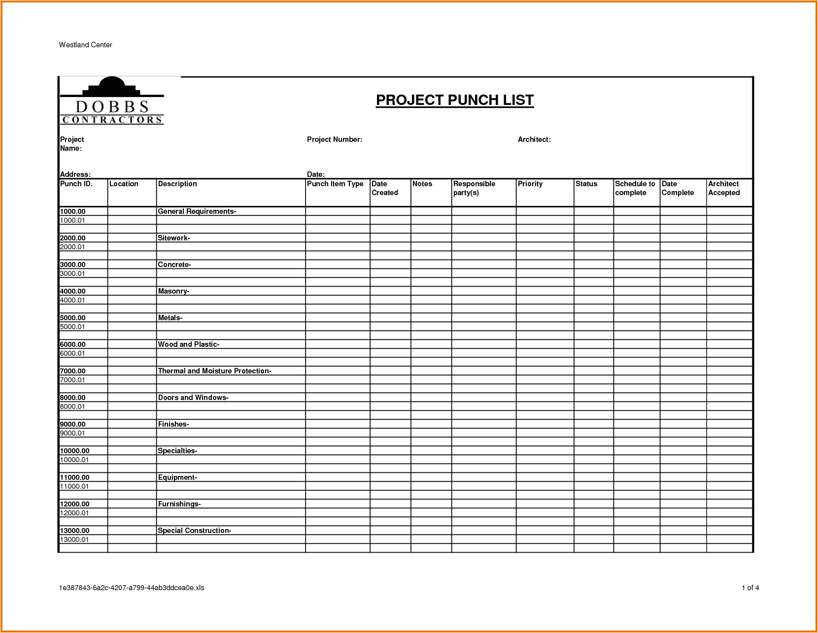 Punchlist Template Construction Project Punch List Template to Do List Template