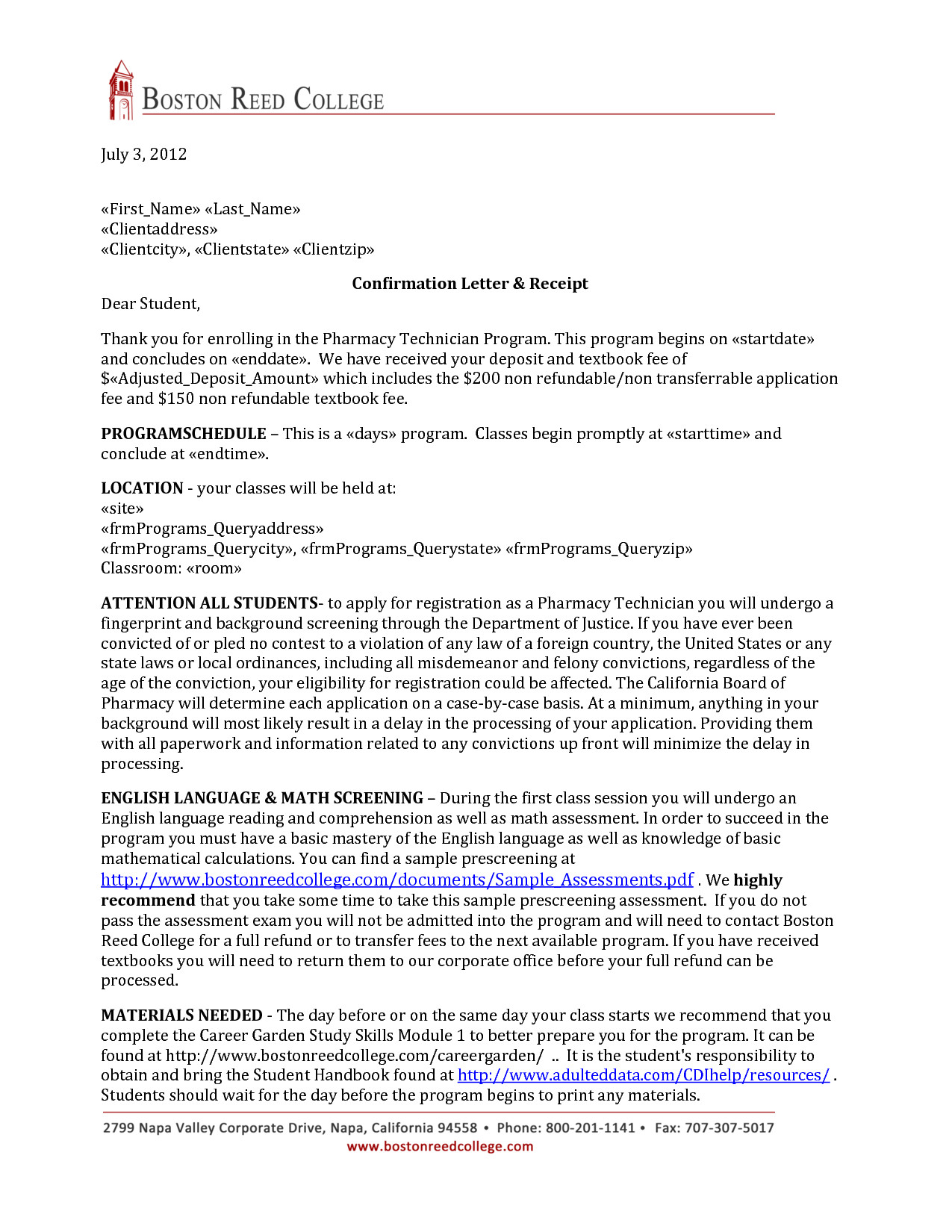 pharmacy technician letter format