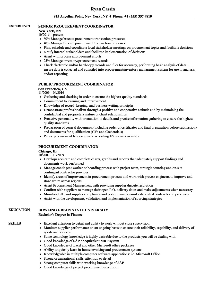 procurement coordinator resume sample