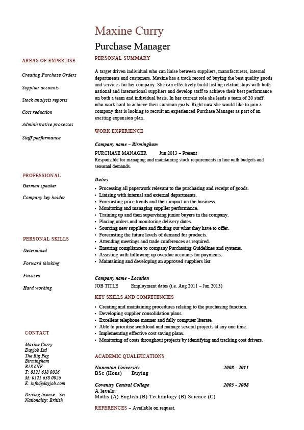 Purchasing Coordinator Resume Sample Procurement Manager Resume Sample Sample Professional