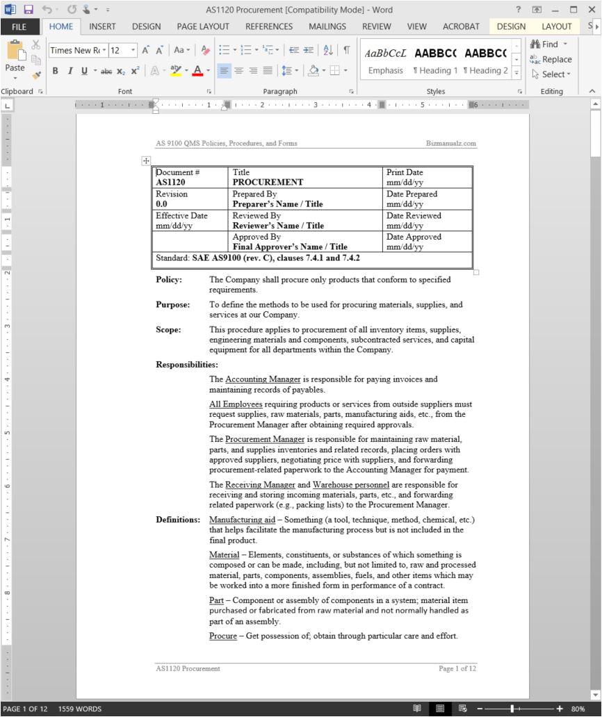 Purchasing Manual Template Procurement Procedure