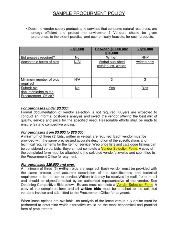 free sample procurement policy 4