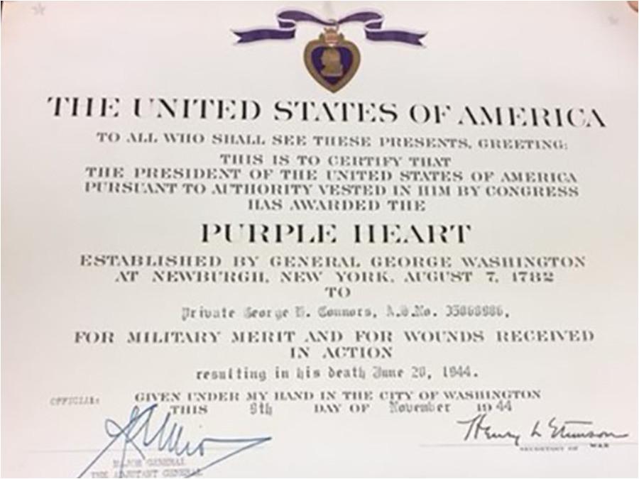 purple heart citation template