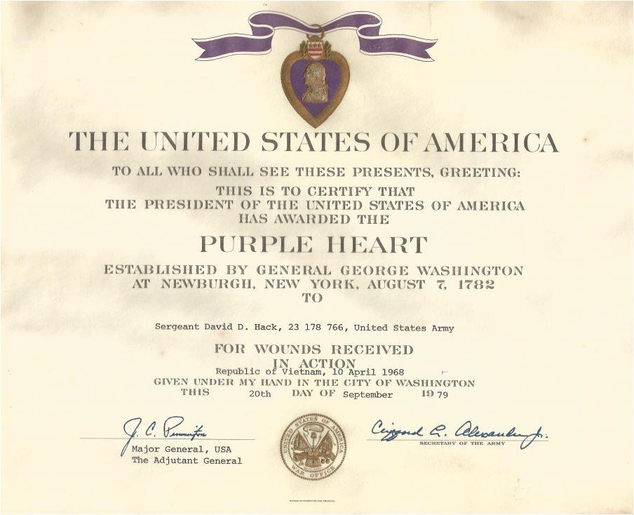 purple heart award certificate