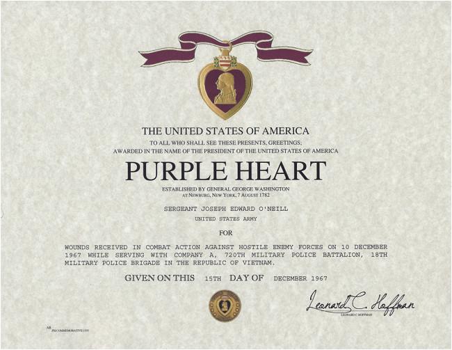 Purple Heart Citation Template Purple Heart Certificate Purple Heart Medal Replacement