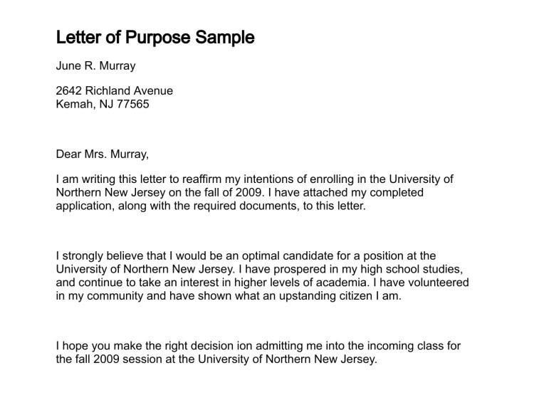 letter of purpose