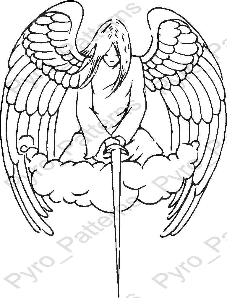 angel pyrography wood burning pattern printable stencil instant download pyro patterns angel0014