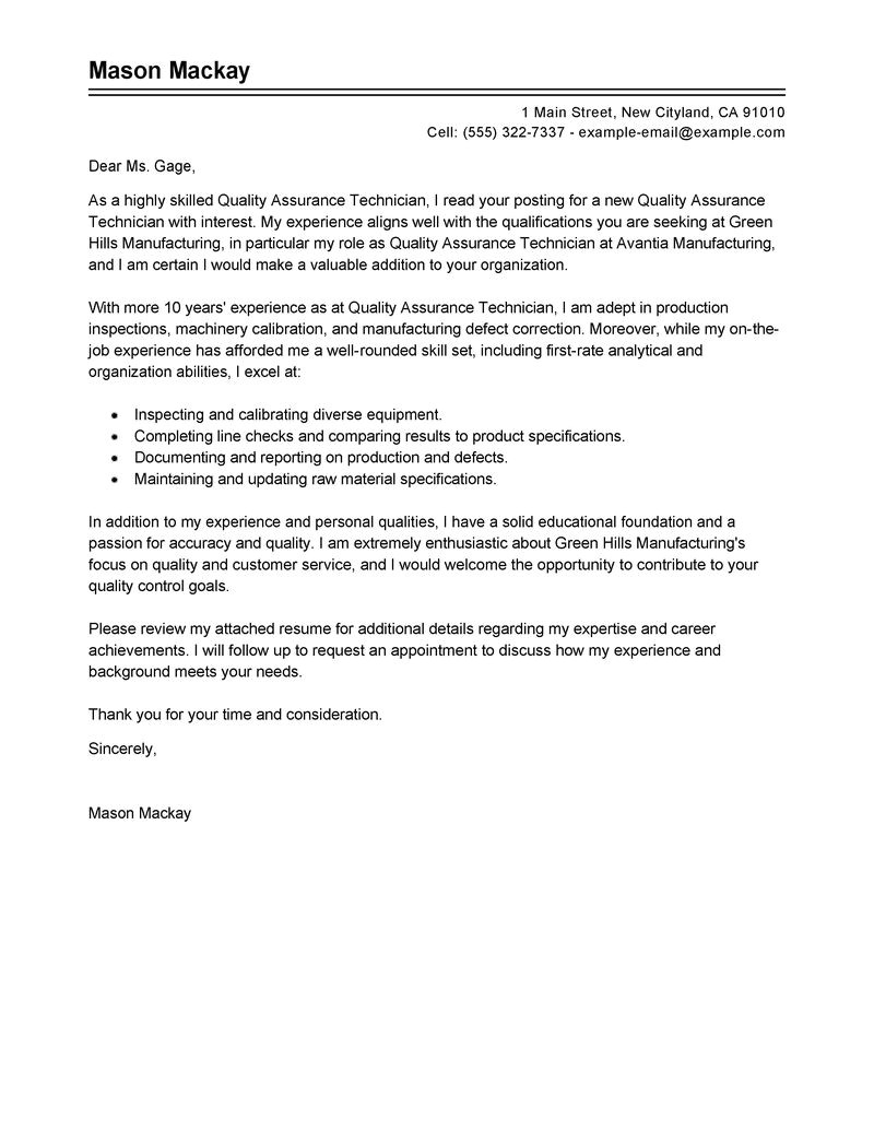 Qualities Of A Good Cover Letter Quality assurance Cover Letter Writefiction581 Web Fc2 Com