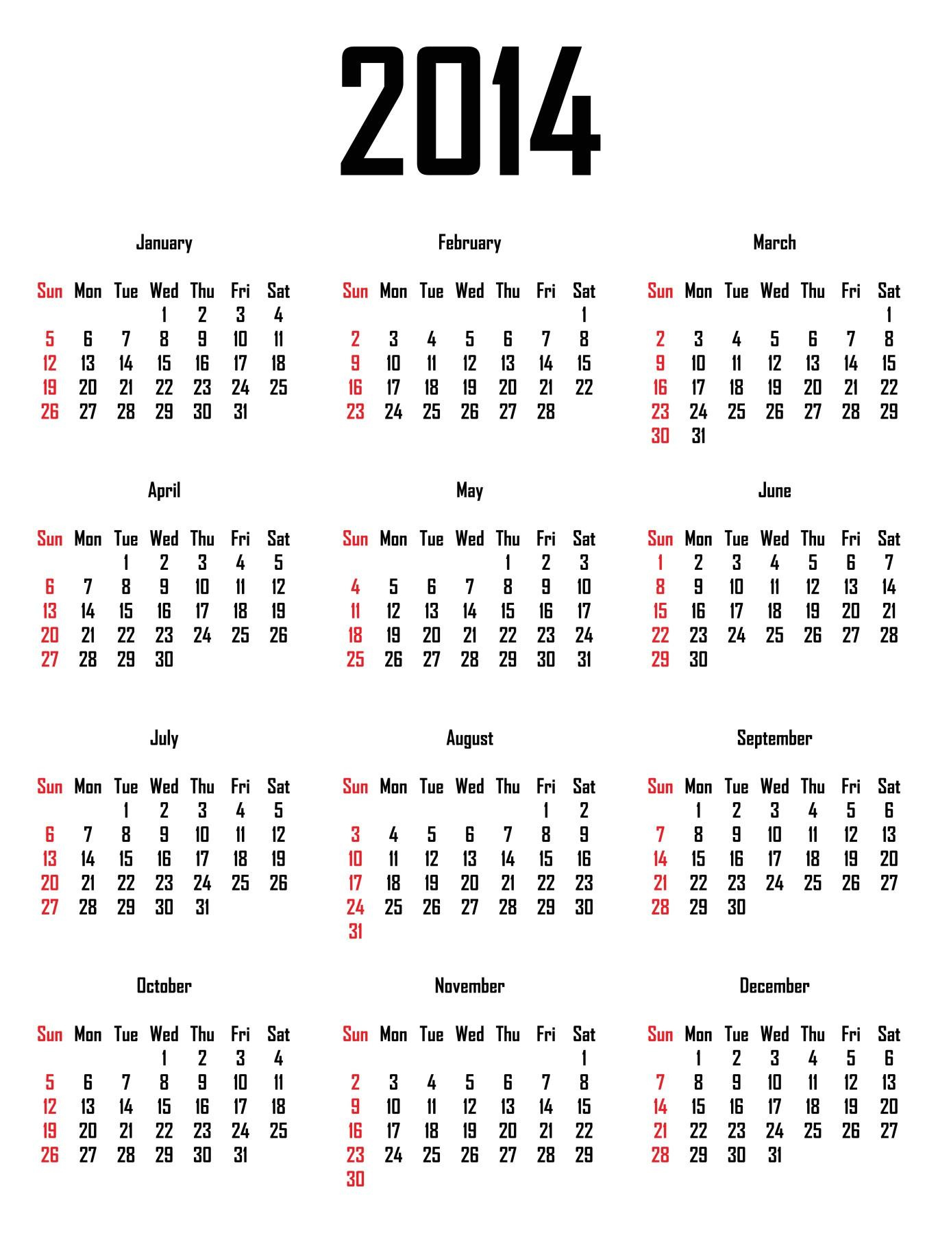 2014 calendar 1551