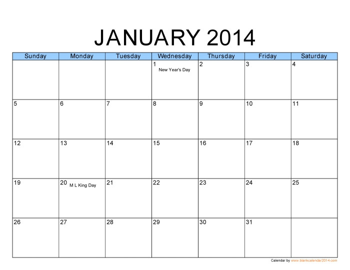 free printable 2014 monthly calendar template