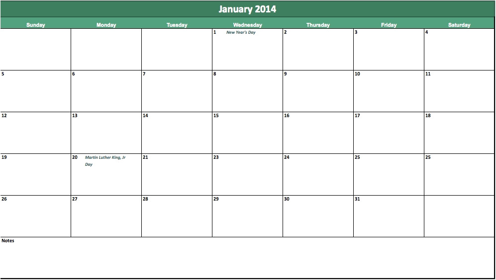 Quarterly Calendar Template 2014 2014 Monthly Calendar Template Icebergcoworking