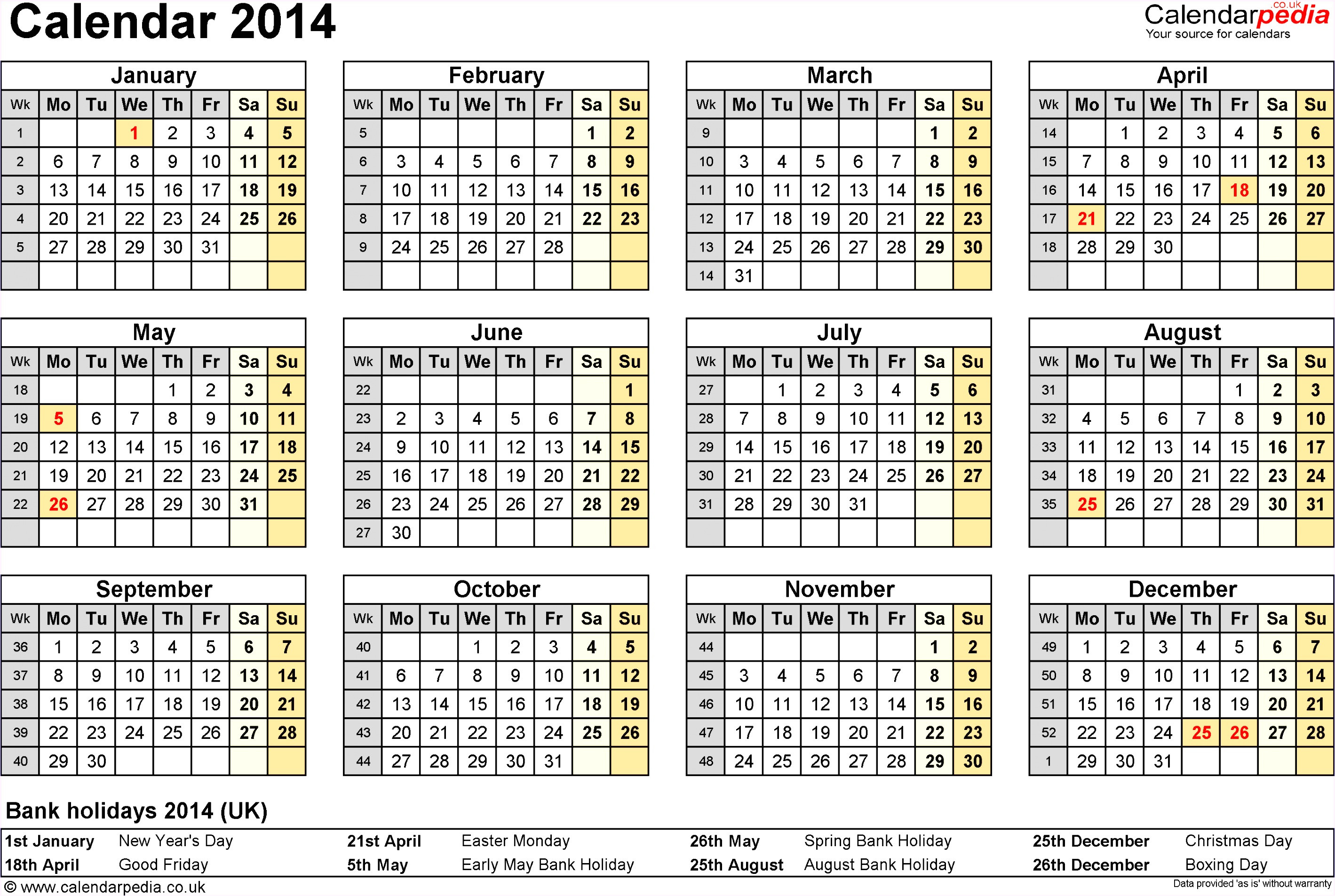 Quarterly Calendar Template 2014 7 Monthly Calendar Excel Template 2014 Exceltemplates