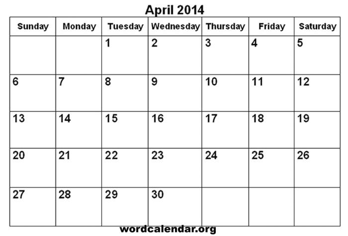 Quarterly Calendar Template 2014 Free Printable 2014 Monthly Calendar Template Calendar