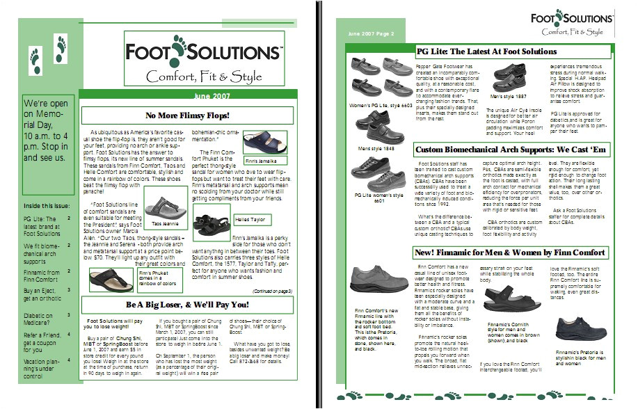 Quarterly Newsletter Template Newsletter for Foot solutions Kelly Koepke