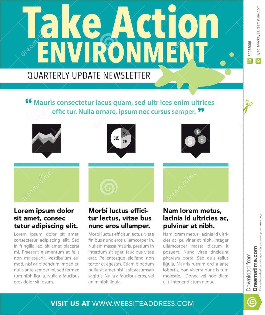 Quarterly Newsletter Template Newsletter Stock Vector Image 62983999